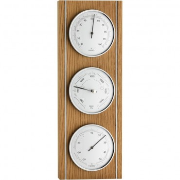 Oak & Metal Trim Barometer 36cm