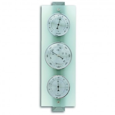 Frosted Glass Grey Barometer 38.5cm