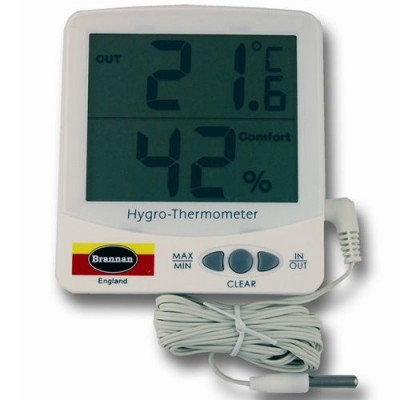 Jumbo Electronic Thermometer And Hygrometer With Cabled Probe